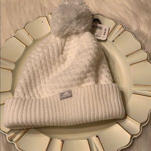 NWT Adidas Climawarm Girl's Hat in Cream & Pom Pom